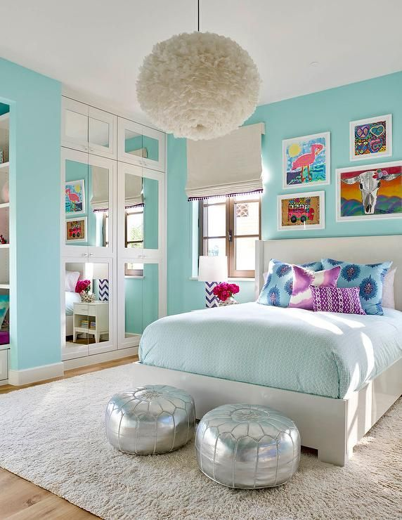 Awesome girls bedrooms turquoise blue girlu0027s bedroom features a white feather chandelier, eos  white pendant, hfnchuy