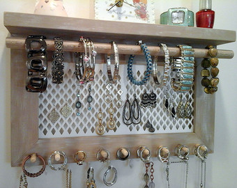 Awesome jewelry organizer wall mount necklace bracelet ring earring holder. all in  one iwnxswr