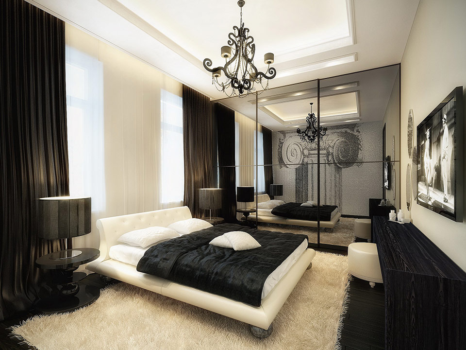 Awesome luxurious black and white bedroom vqeolkp