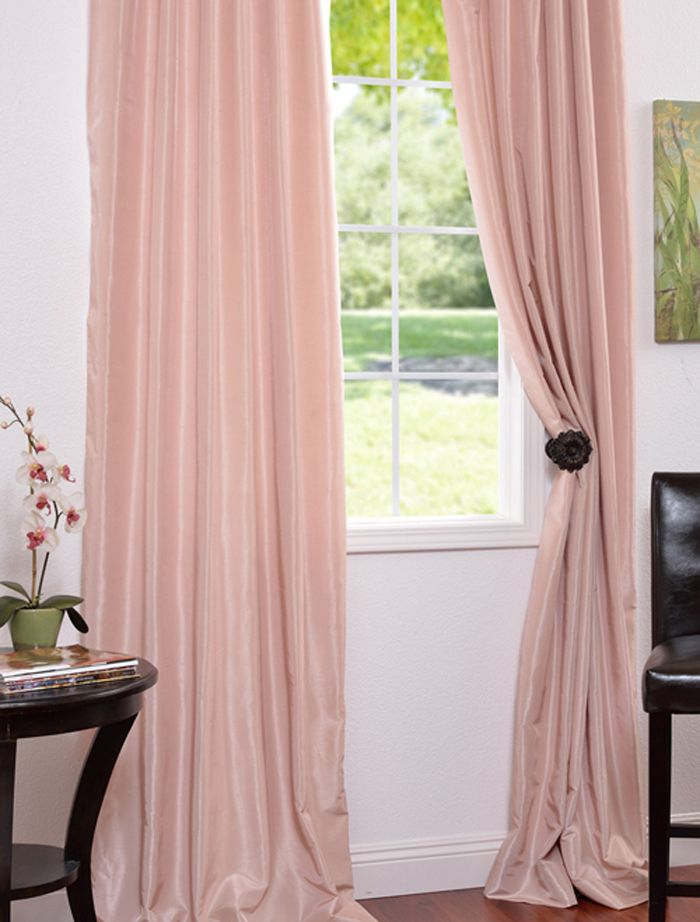 Awesome pink curtains rose blush vintage textured faux dupioni silk curtain txgqjke