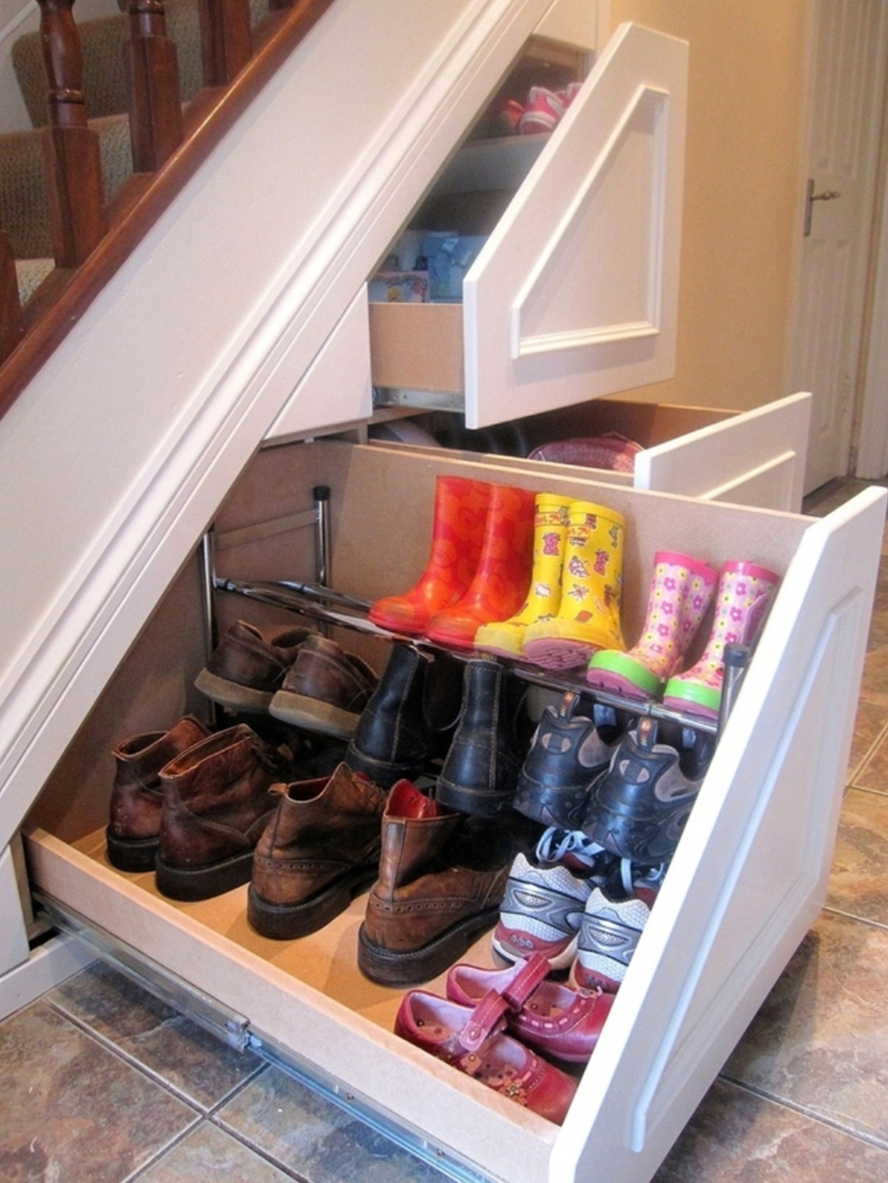 Awesome shoe storage solutions under the stairs shoe rack ideas znrhwdv