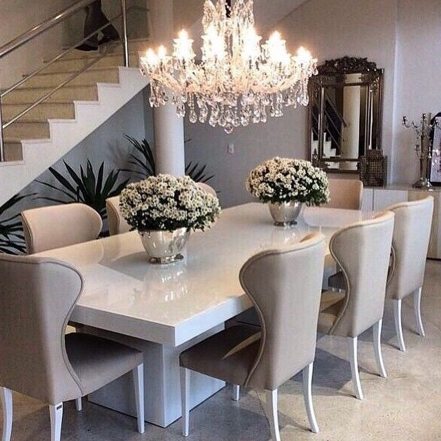 Awesome white dining table sleek white table with ivory/beige dining chairs, top off the sophisticated  look oteezda