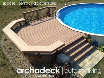 Beautiful above ground pool decks timbertech pool deck - nice and compact. above ground ... zvbdzpe