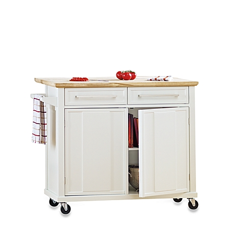 Beautiful image of real simple® rolling kitchen island in white bjyzpgj