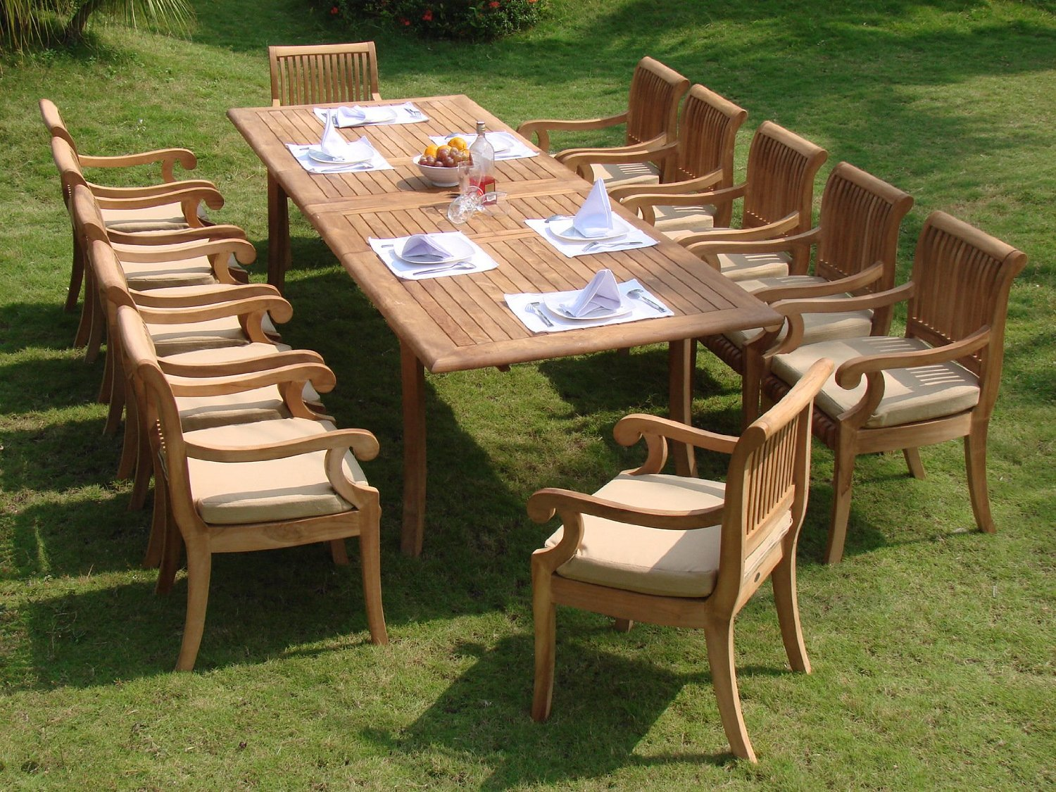 Beautiful teak patio furniture 13 piece luxurious grade-a teak dining set review ... bxkmieh