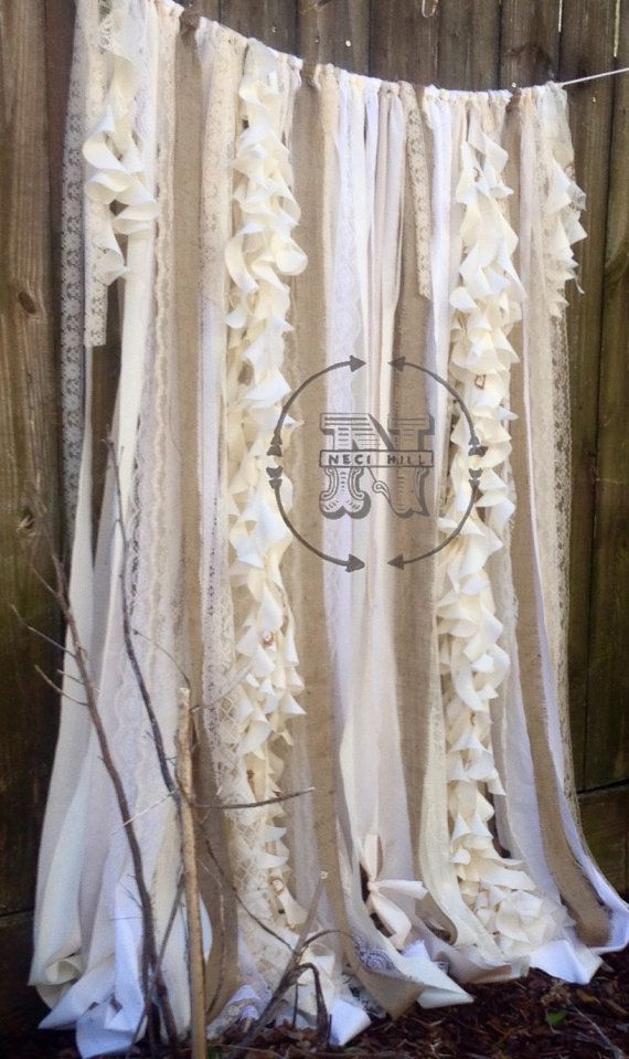 Beautiful vintage curtains rustic burlap curtains with lace and rag ribbons made with vintage and newu2026 kfhlhgz