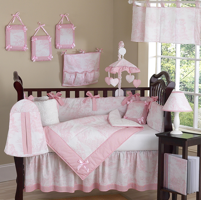 Best baby crib sets pink and white french toile baby bedding - 9 pc crib set bgbgqdy