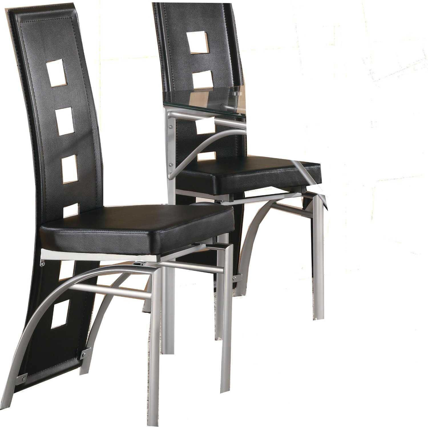 Best black dining chairs amazon.com: coaster home furnishings contemporary dining chair, silver/black,  set of 2: kitchen qhfeaqq