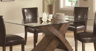 Best classic elegant solid wood base rectangular glass top dining table . ztxvqou