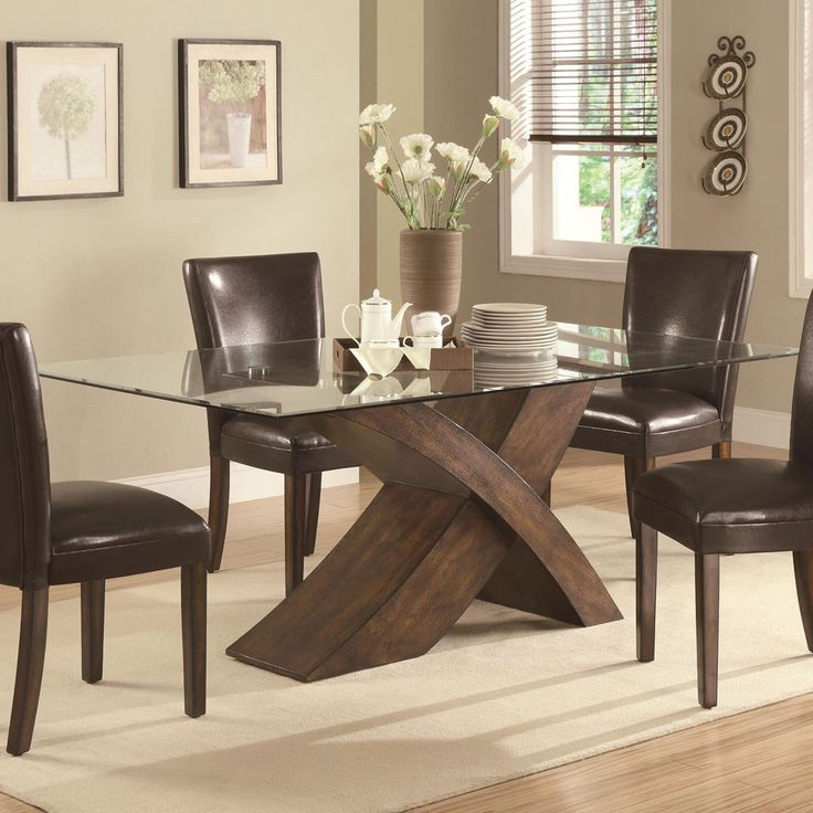 Stylish glass top dining table