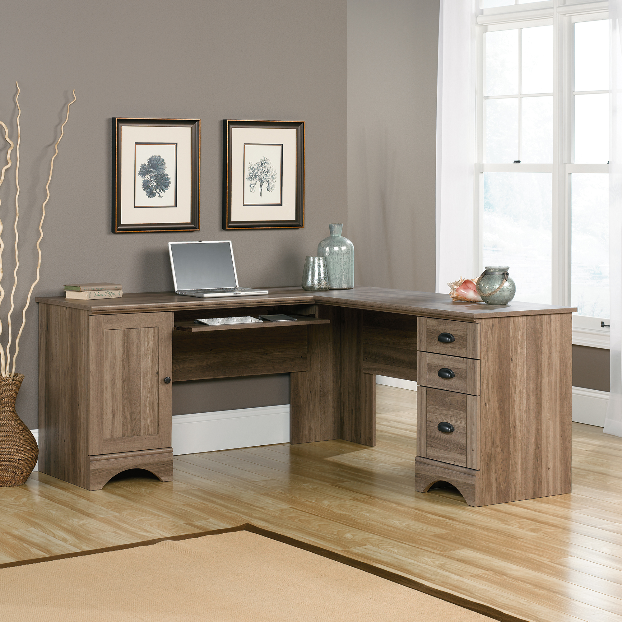 Perfect use of available space with corner computer desk