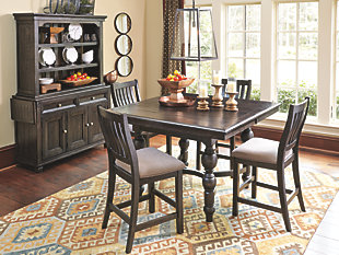 Best dining room sets dark finished counter height dining table and slat back stools tonnhxy