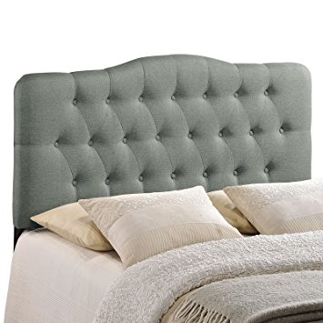 Best modway annabel upholstered tufted button fabric headboard - queen size in  gray cxirpak