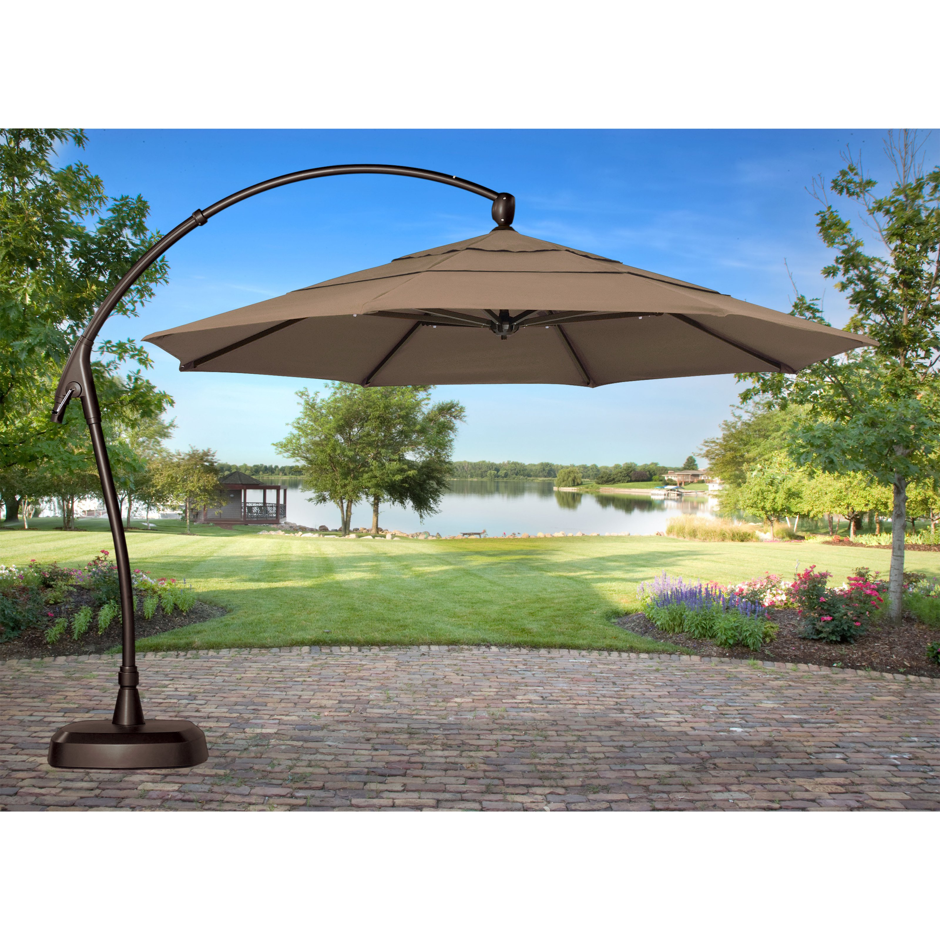 Best obravia cantilever offset patio umbrella with base | hayneedle fwufnsa
