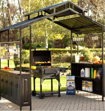 Chic large grill gazebo for year round grilling and entertaining. love the  hanging jimvtgs