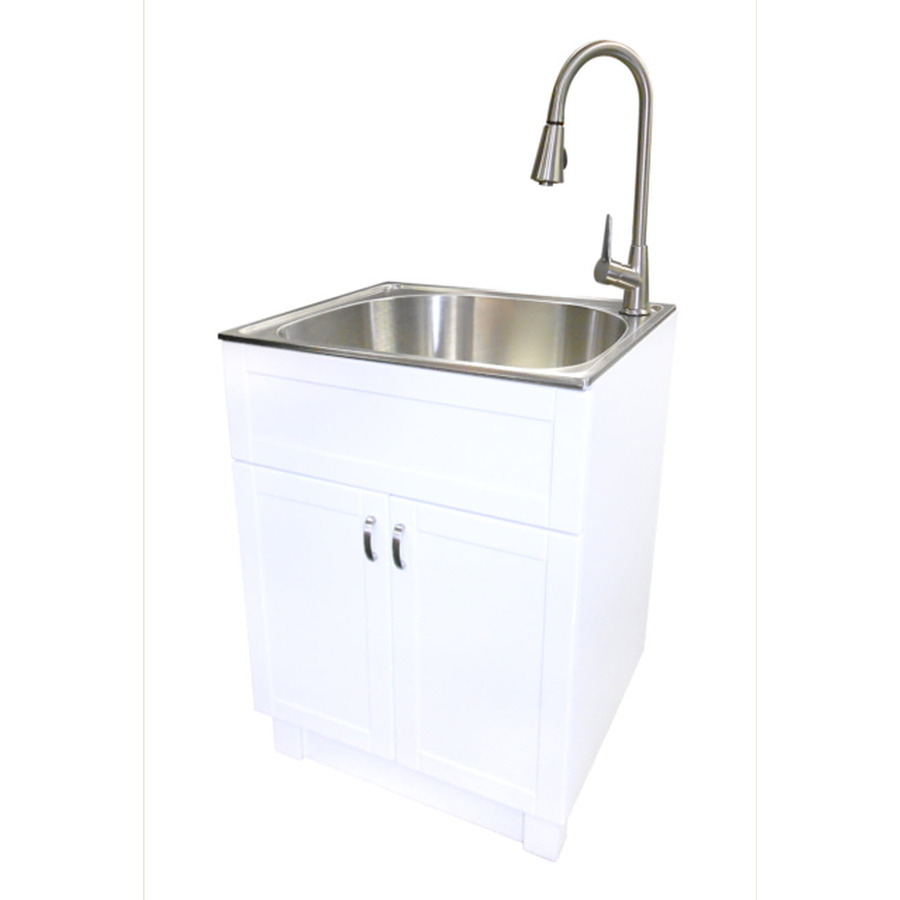 Chic laundry tubs transform 25-in x 22-in 1-basin freestanding stainless steel utility tub dbypnnm