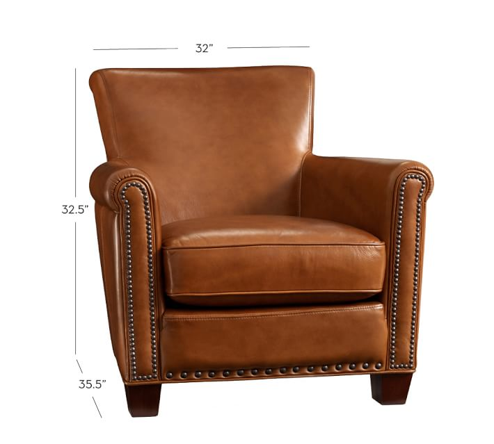Chic leather chairs irving leather armchair with nailheads | pottery barn ukdgxzl