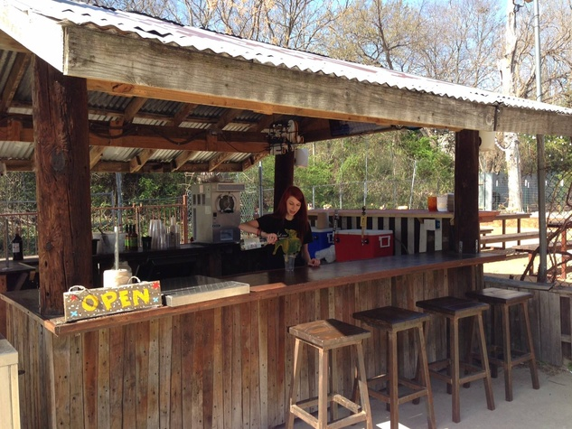 Chic outdoor bar at the lot in east dallas zsisral