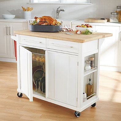 Chic real simple® rolling kitchen island in white heyvpzj