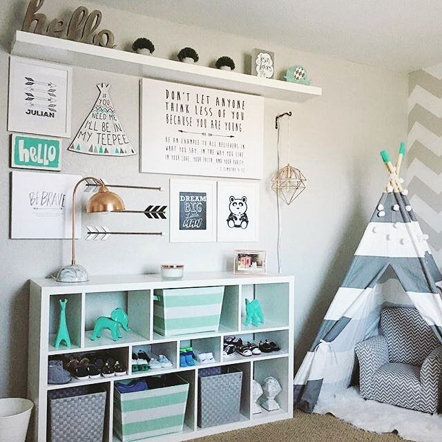 Chic toddler room ideas sunday vibes in this sweet aqua and gray nursery design by @ivonnestacy pdhluru