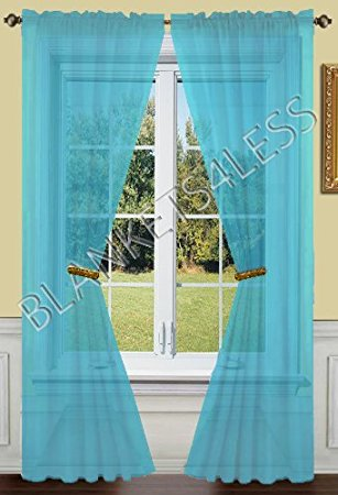 Chic turquoise curtains 2 piece solid turquoise sheer window curtains/drape/panels/treatment  55w adewber