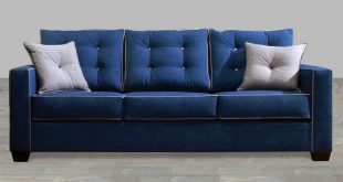 Collection contemporary style blue fabric sofa with pillow rolled arm gtxbuvz