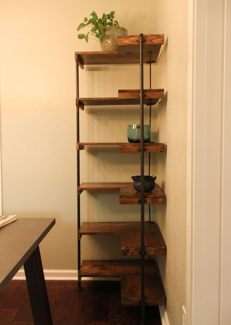Collection corner shelf diy rustic industrial free-standing corner shelves sggkmdi
