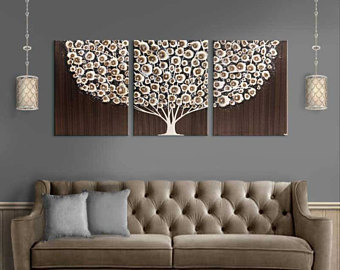 Collection extra large wall art canvas triptych tree painting in acrylic - neutral scbgxjr