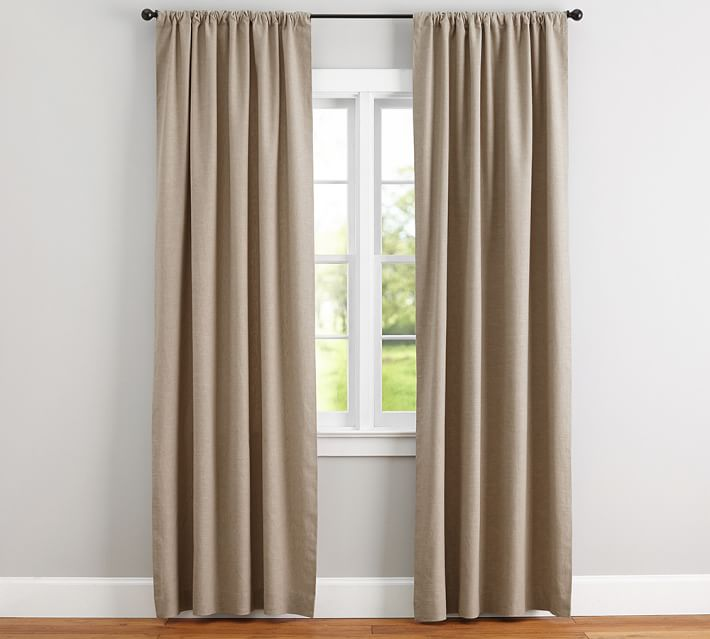 Collection linen curtains emery linen/cotton pole-pocket drape | pottery barn ycxoced