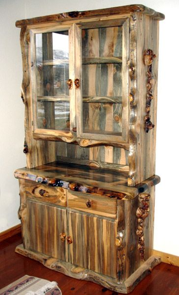 Collection of pine furniture blue pine hutch with lodge pole burl accents. looks like a husband and abpwtzx