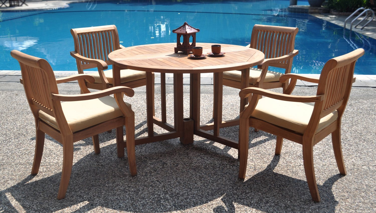 Collection teak patio furniture 5 piece grade a teak dining set 48 inch round table taewrnz