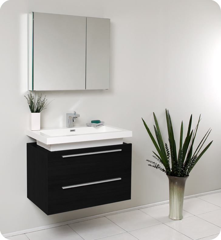 Compact black bathroom vanity fresca - medio - (black) bathroom vanity w/ two drawers and white acrylic vxwxfju