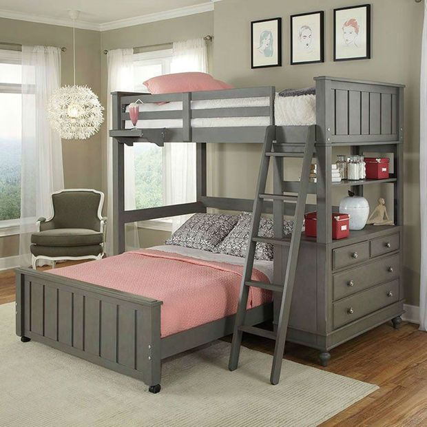 Compact bunkbeds twin over full bunk bed loft with chest and ladder in stone wood dxirxuz