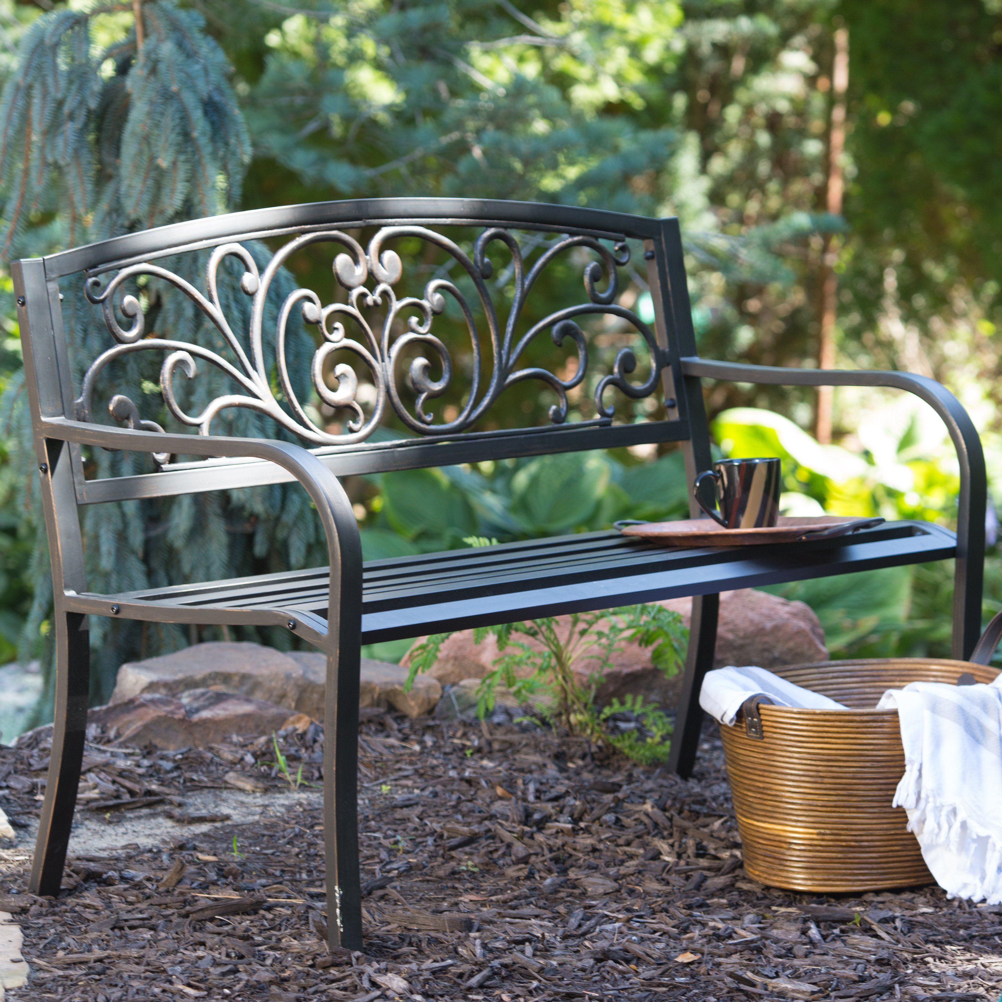 Compact garden benches curved-back garden bench | hayneedle ykgygnp