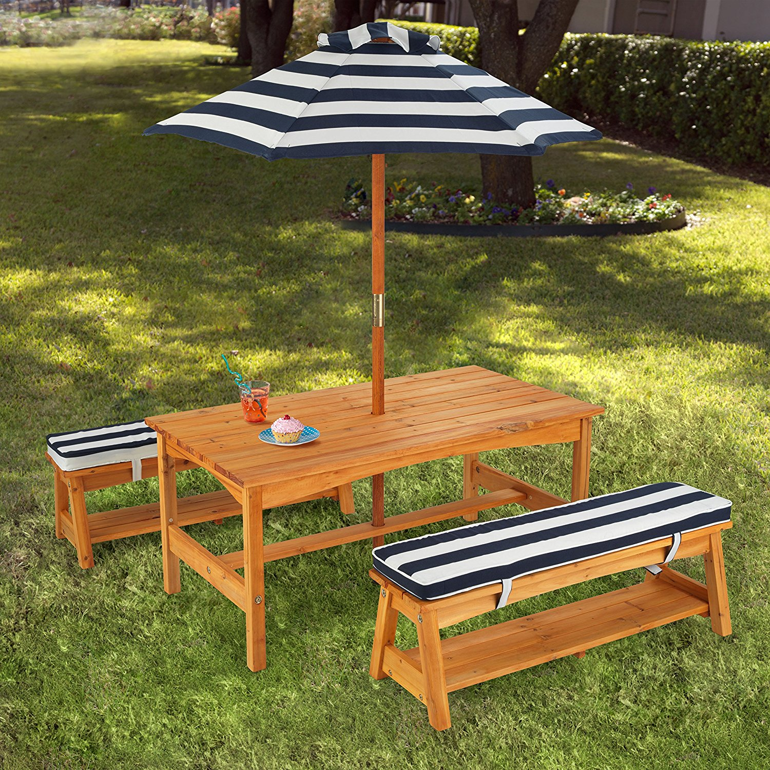 Compact kids outdoor furniture amazon.com: kidkraft outdoor table and chair set with cushions and navy  stripes: rxejegl