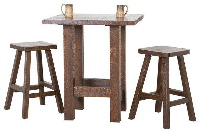 Concept pub table and chairs 3 pc barnwood pub table set (dark barnwood) contemporary-indoor-pub- swwmpel