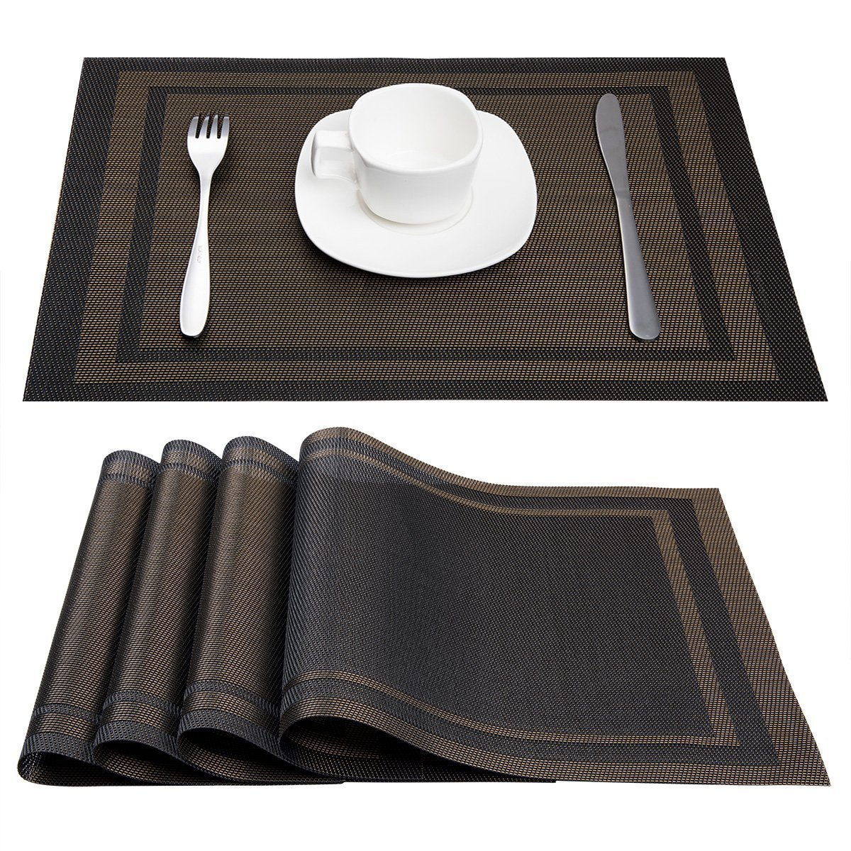 Contemporary amazon.com: placemats, artand heat-resistant placemats stain resistant  anti-skid washable pvc table mats fyfzsjv