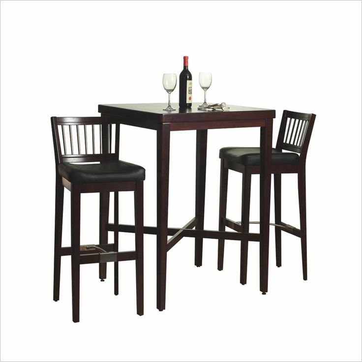 Contemporary bar table and chairs furniture 3-piece solid wood pub table u0026 bar stools set in cherry - yvxacjt
