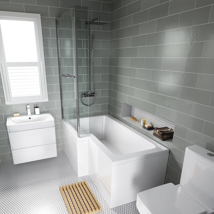 Contemporary bathroom tiles 1500mm left hand l-shaped bath with screen, rail u0026 front panel ixvdcms