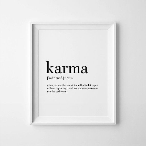 Contemporary bathroom wall decor karma definition print karma printable bathroom wall by printabold gzgnsam