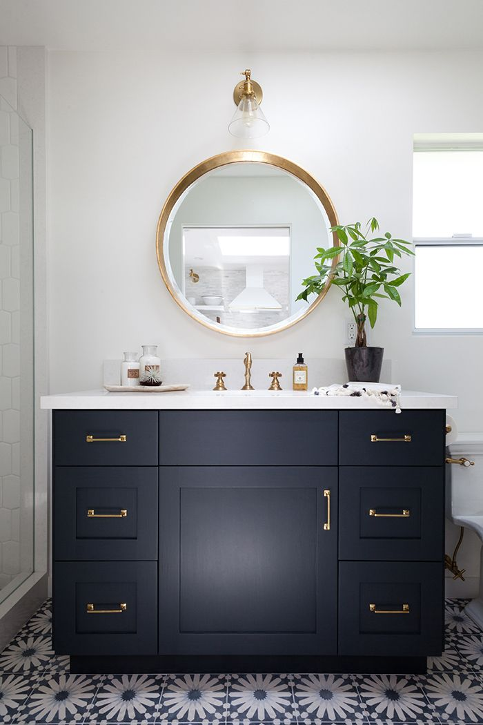 Contemporary black bathroom vanity mid-century modern ranch master bath remodel des moines lypoalc