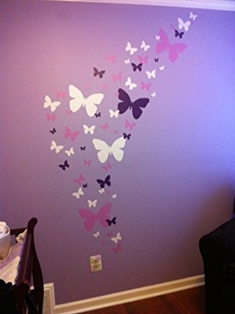 Contemporary create-a-mural : butterfly wall decals- lavender, lilac u0026 white beautiful xdgjlfi