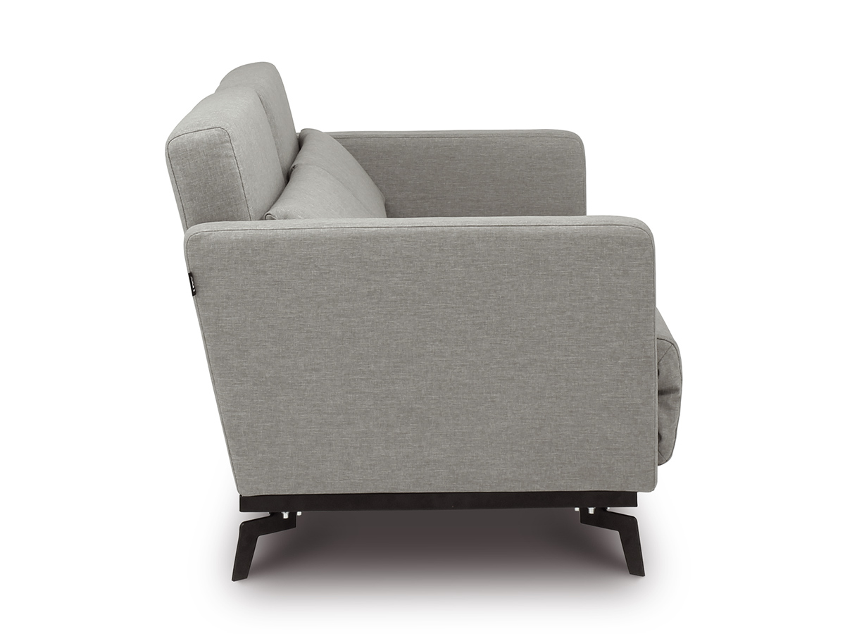 Contemporary dane grey queen 2 seater sofa bed with black metal legs side view gmthwvv
