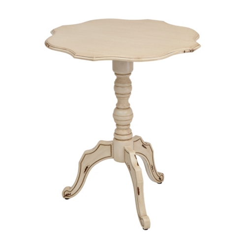 Contemporary distressed ivory scalloped round side table | kirklands dkbptpo