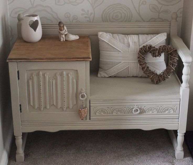 Contemporary fashionable shabby chic furniture shabby chic oak telephone table seat  painted in pzxlotb