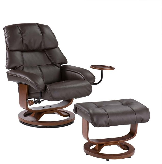 Contemporary holly u0026 martin leather recliner chair and ottoman, 2-piece set, brown  recliner wpxksct