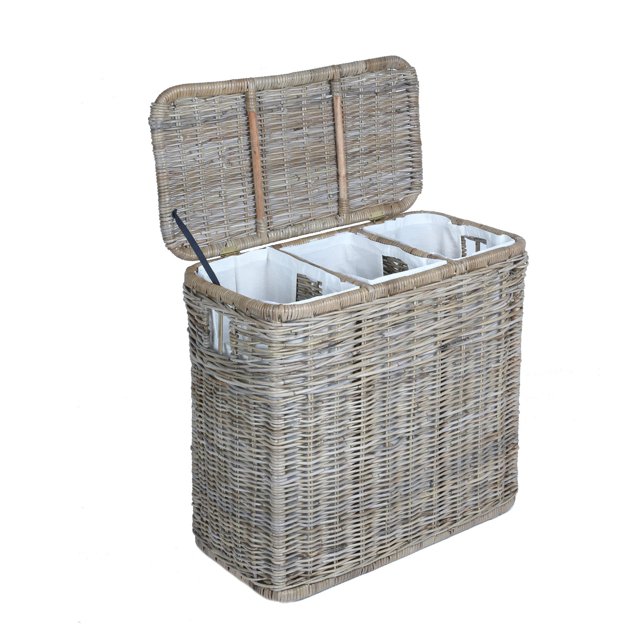 Contemporary laundry hampers 3-compartment kubu wicker laundry hamper in serene grey with lid open | the ctlblza