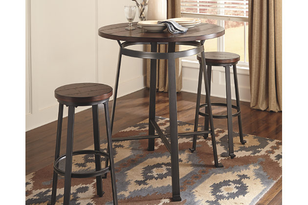 Contemporary rustic brown challiman dining room pub table view 1 mcaawto