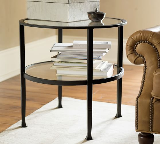 Contemporary tanner round side table - bronze finish hswubzh