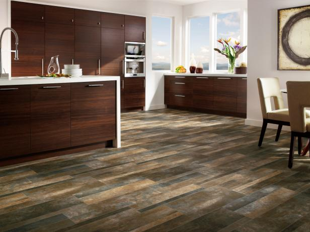 Contemporary vinyl flooring open-plan contemporary kitchen with striking wood floor bfnztgt